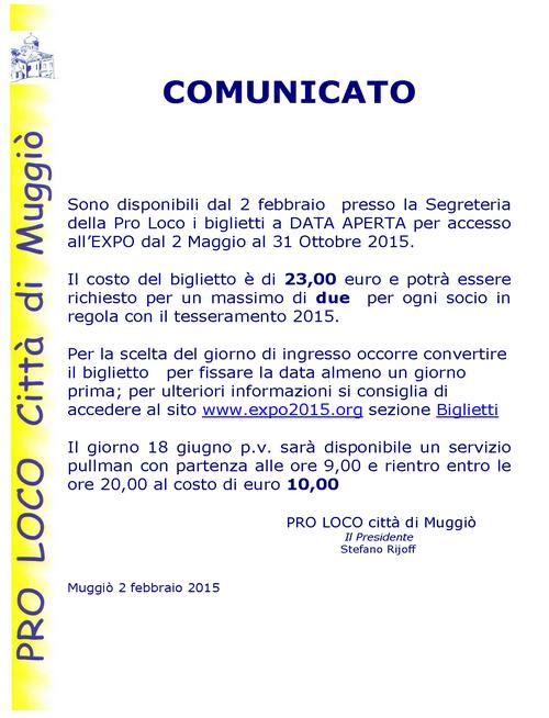 COMUNICATO PER EXPO 500