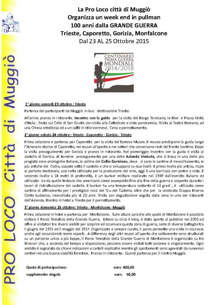 Tour 100 ANNI DALLA GRANDE GUERRA 1