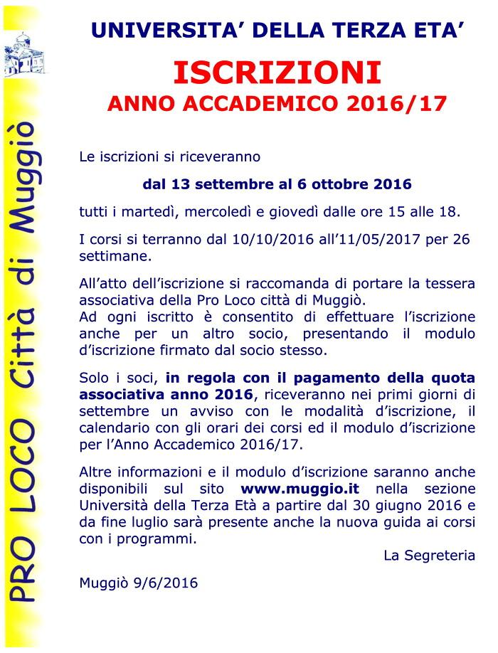 Avviso iscrizioni AA 2016-17 - 700