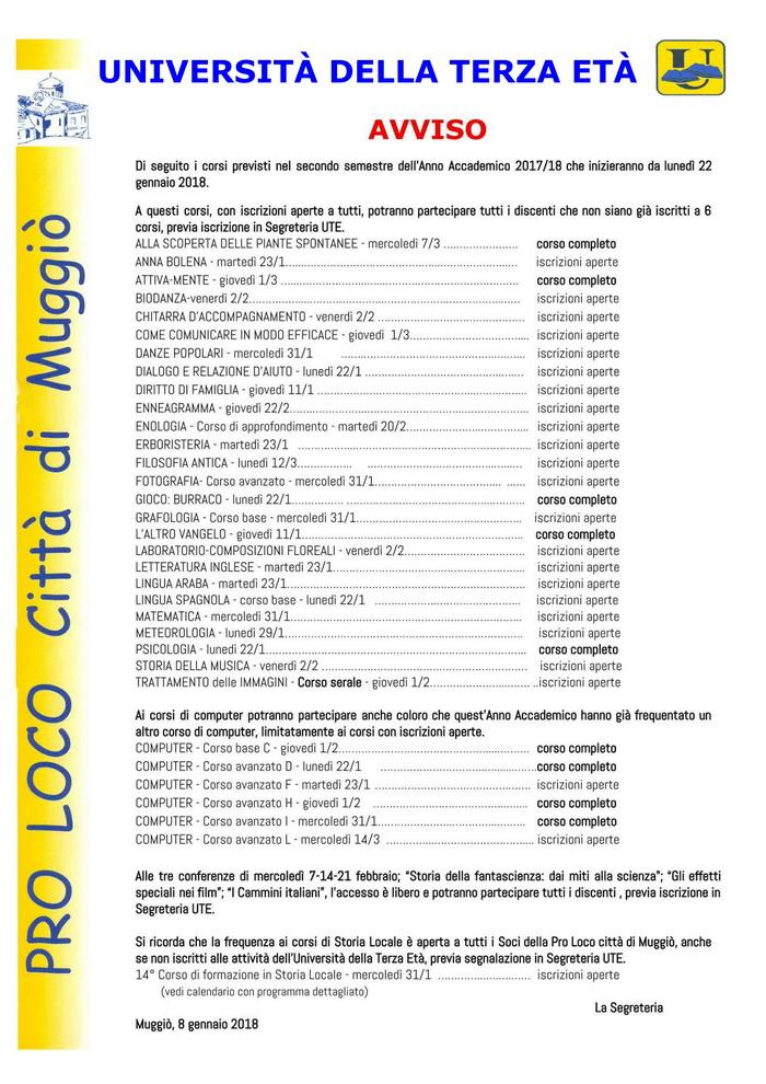 Avviso corsi 2° semestre 2017-18 700