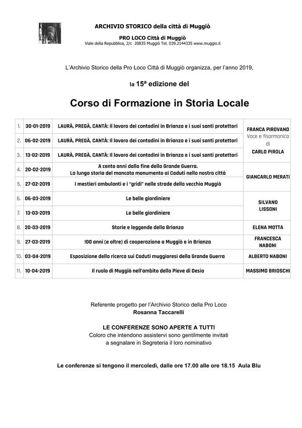 15° Corso di formazione in Storia Locale -  2019 -600