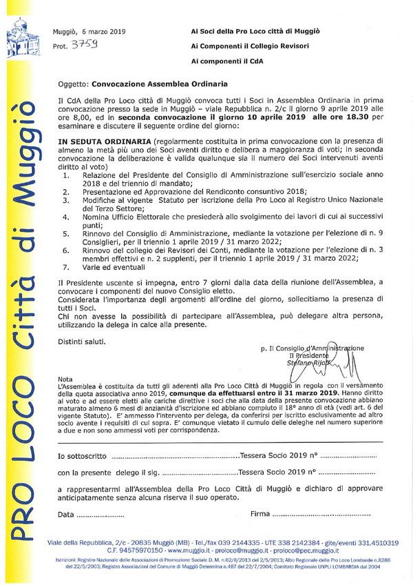 Convocazione Assemblea Soci 10 aprile 2019 - 600