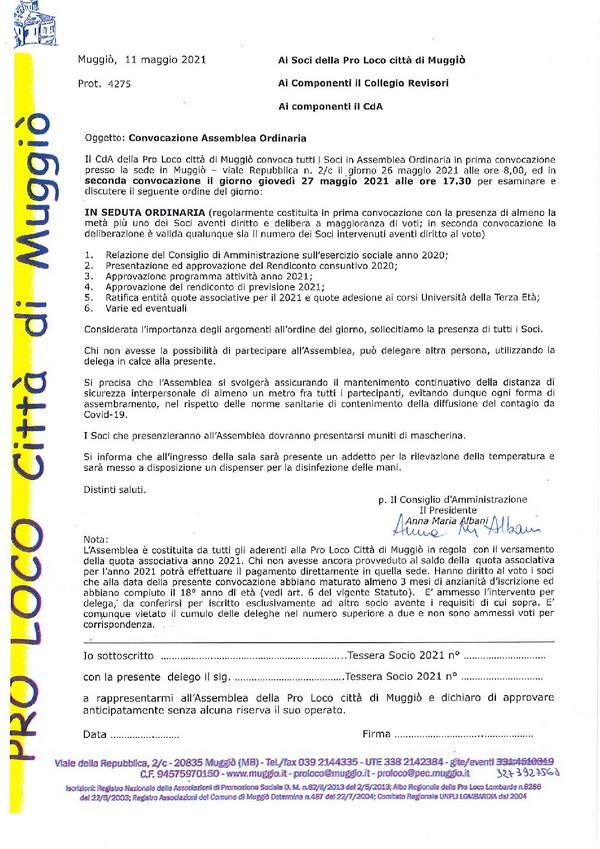 Assemblea Ordinaria Pro Loco città di Muggiò – aprile 2021