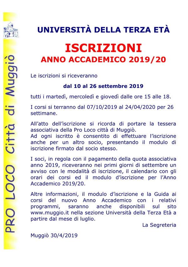 Avviso iscrizioni AA 2019-20  sito