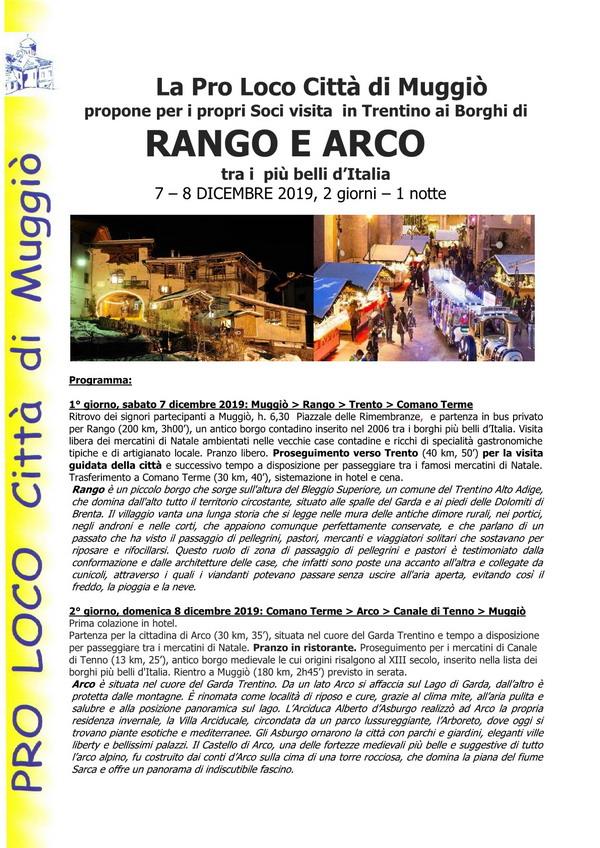 Visita in Trentino ai Borghi di RANGO E ARCO  – A N N U L L A T A