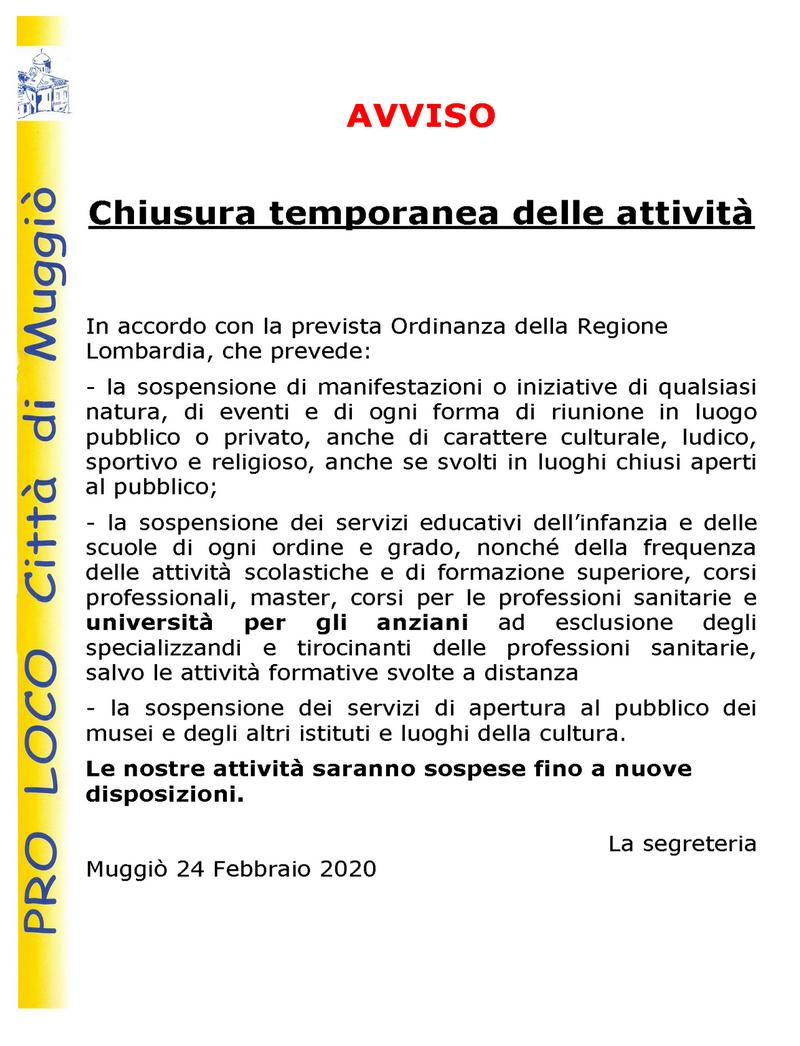 Avviso Chiusura temporanea delle attività 24.2.2020-