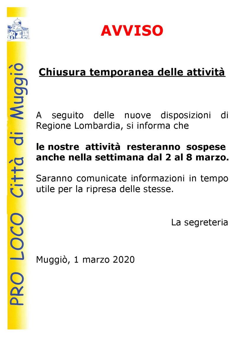 avviso 2 chiusura temporanea attività 29.2.2020